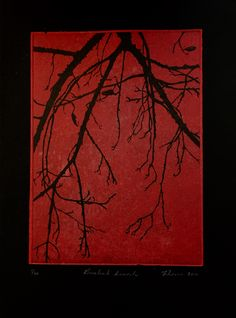 Copper plate hard ground etching with aquatint. Intaglio printing over red chine colle