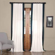 EFF 1-Panel Popcorn Vertical Colorblock Panama Curtain, Blue (Navy)