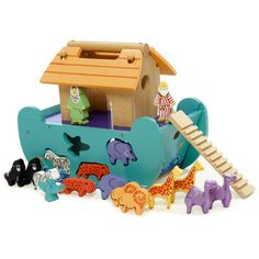 Le Toy Van Le Petit Ark - Wooden Noah's Ark Shapesorter suitable from 12 months. Fast delivery from recommended Le Toy Van Retailer! Baby Toys, Kids Toys, Children Games, Puzzle, Green Toys, Shops, Wooden Shapes, Christening Gifts, Montessori Toys