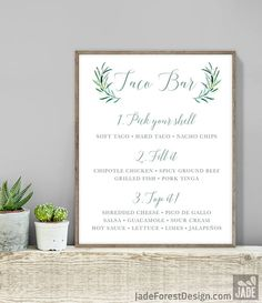 Greenery Taco Bar Sign / Tacos Sign / Eucalyptus Crest / Green