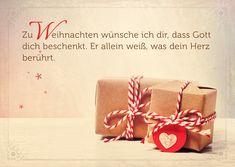 Format 14,8 x 10,5 cm Text: Zu Weihnachten wünsche ich dir, dass Gott dich beschenkt. Er allein weiß was dein Herz berührt.