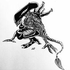 xenomorph paper sketch ink draw