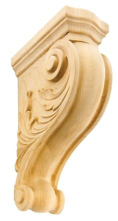 "Acanthus Leaf Corbel / 8""H X 2-1/2""W X 5""D - wooden kitchen style corbels, grape corbels, floral corbels, decorative wall corbels, hidden corbels, antique wooden corbels,arts and crafts corbels 