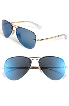 Ray-Ban Semi Rimless Lightweight Aviator Sunglasses available at Nordstrom Cute Work Outfits, New Outfits, How To Become Pretty, Fashion And Beauty Tips, Cool Style, My Style, Signature Look, Nordstrom, Ray Ban Aviator
