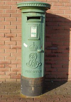 Edward VII pillar box at Rosslare Harbour, Wexford, Ireland