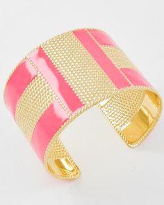 Gold Tone / Coral Epoxy / Lead Compliant / Metal / Cuff Bracelet