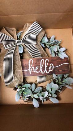 Farmhouse Wreath-Grapevine Wreath-Front Door Decor- Wreath with Lamb Ears- Farmhouse- Every Day Wreath- Year Round Wreath- Front door Wreath - Wreath Ideen 2020 Front Door Decor, Wreaths For Front Door, Door Wreaths, Front Doors, Front Entry, Front Porch, Diy Wreath, Grapevine Wreath, Wreath Ideas