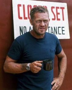 Steve McQueen enjoying Tea on set!!!!  #lovetea #forhealth