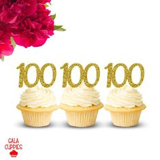 100th Birthday Cupcake Toppers, 100 Cupcake Toppers, Happy 100th Birthday, Gold Cupcake Toppers, 100th Birthday Decor, Gold Party Decoration Gold Party Decorations, Birthday Decorations, White Flower Centerpieces, Gold Cupcakes, Birthday Cupcakes, Cupcake Toppers, White Flowers, Place Card Holders, Unique Jewelry