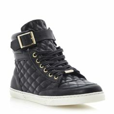 DUNE LADIES Black LILTED - Quilted Leather Hi-Top Trainer   Dune Shoes Online