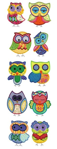 | Jumbo Owls Applique Set 1