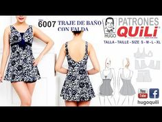6007 Traje de baño con falda tipo blusa y short . www.hugoquili.com - YouTube Sewing Lingerie, Swimsuits, Swimwear, Lace Bra, Sewing Tutorials, Diy Clothes, Underwear, Textiles, Rompers