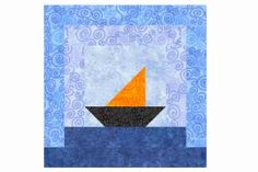 A Little Boat Sails Away at the Center of This Log Cabin Quilt Block: Make a Sailboats Log Cabin Quilt Block