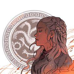 'Teen Titans' & 'Game Of Thrones' prints by Gabriel Picolo Got Dragons, Mother Of Dragons, Fantasy Kunst, Fantasy Art, Fanart, Daenerys Targaryen Art, Khaleesi, Deanerys Targaryen, Game Of Trone
