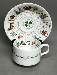 "On the outside of the cup, one can read ""Perchance this cup will show it thee. Would'st thy fortune like to see"". Fortune Telling, Tea Cup Set, Bone China, Zodiac, Ebay, 12 Zodiac Signs, Horoscope"
