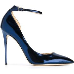 Jimmy Choo 'Lucy' sandals (€665) ❤ liked on Polyvore featuring shoes, sandals, heels, blue, high heels stilettos, jimmy choo shoes, metallic sandals, blue heel shoes and stiletto sandals