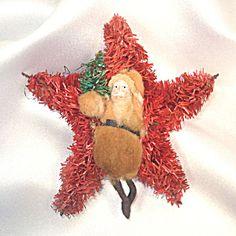 Cotton Batting Clay Face Santa Bottle Brush Star Christmas Ornament