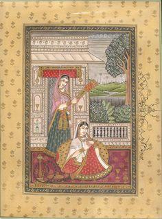 Rajasthani Maharani Miniature Painting Indian Handmade Folk Ethnic Paper Art