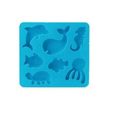 Under the Sea Ice Cube Tray - Silicone Mold by Kikkerland The Under the Sea Ice Tray makes 7 ice cubes shaped either like a whale, fish, turtle, dolphin, octopus or seahorse. This blue, 100% silicone