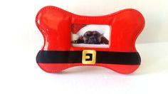 New Mud Pie Red Black SAnta Suit Bone Picture Photo 2x3 Frame Animal Belt #MudPie #AnimalChristmas