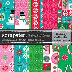 Christmas Digital Patterns Holiday by ScrapsterbyMHdesigns on Etsy, $4.50