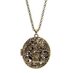 Steampunk Steam Age Locket Necklace (Gold)