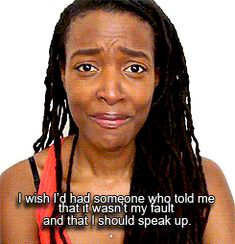 """chubby-bunnies: """" lesbocd: """" How Slut Shaming Becomes Victim Blaming """" her face in the last gif made me actually cry"""