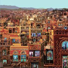 Pierpaolo Rovero - Sana'a (Yemen) drinks coffee Nothing to kill or die for. Stop war in Yemen People Illustration, Illustration Art, Naher Osten, Open Window, Italian Artist, People Of The World, Turin, John Lennon, Islamic Art