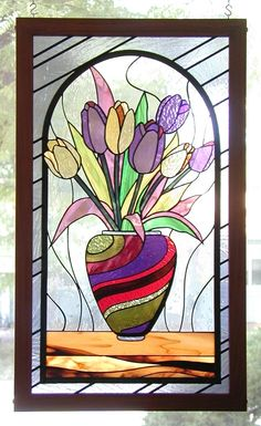 Tulips In A Vase - Floral Stained Glass by Mark Stine Stained Glass Quilt, Stained Glass Flowers, Faux Stained Glass, Stained Glass Designs, Stained Glass Panels, Stained Glass Projects, Stained Glass Patterns, Mosaic Art, Mosaic Glass