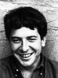 Love this photo of a young Leonard Cohen...smiling....