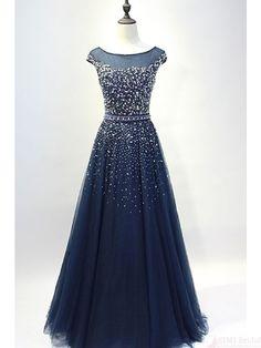 shining prom dresses, navy blue prom dress, #SIMIBridal #promdresses