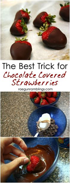 Hands down the best trick to making perfect chocolate covered strawberries nice and fast #strawberries #tips #dessert