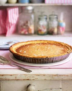 Our gypsy tart – a traditional dessert hailing from Kent – is made with shortcrust pastry, an evaporated milk filling and sprinkled with Maldon sea salt. Gypsy Tart, Great British Food, Tea Time Snacks, No Salt Recipes, Shortcrust Pastry, Delicious Magazine, Dessert Recipes, Desserts, Recipe Using