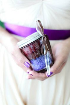 Willy Wonka inspired Red Velvet (disguised in purple) cake jars designed as wedding gifts