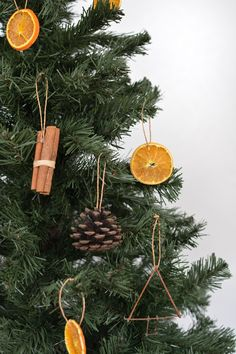 Diy Tree Ornaments Using Natural Materials Hunker Happy New Year Natural Christmas Tree, Noel Christmas, Homemade Christmas, Simple Christmas, Holiday Tree, Natural Christmas Decorations, Orange Christmas Tree, Xmas, Minimal Christmas