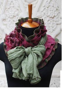 Ручная работа Валяный шарф с шелком Цветение