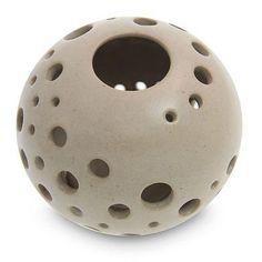 Ceramic candleholder, 'Sugar Snowball' by NOVICA