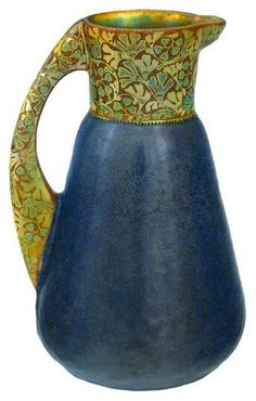 Zsolnay, ceramic pitcher, precious stones imitation, 1909