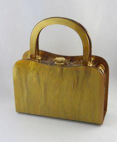 Vintage Amber Lucite Purse 1950s Walborg Lucite by zestfulvintage, $62.00