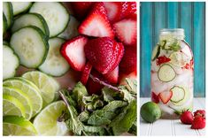 Morango + limão + pepino + hortelã: Águas aromatizadas para o verão | Gordelícias