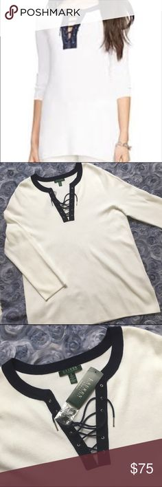 Ralph Lauren lace up pullover Sweater 2X/XXL/18W Lauren Ralph Lauren White lace up pullover Sweater with navy blue collar.  Long Sleeves,100% cotton, fine knit. Beautiful Sweater! Size 2X, XXL, 18W, 20W. New With Tags! Excellent condition. No Flaws. Designer Sweater which retails $135  All measurements are taken with item laying flat.  Measurements: Chest (underarm to underarm)-  23.5in Length (back neck seam to bottom)-  31in Sleeve - 26in.                                         Fast…