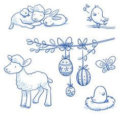 Vektor: Cute easter icon and animal pet collection, with easter eggs on pussy willow branch,  rabbit, lamb, chicks and butterfly. Hand drawn vector illustration.