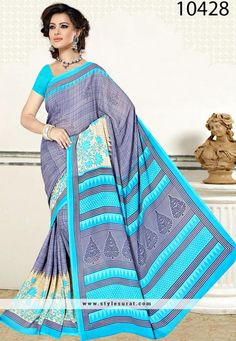 Stupendous Sky Blue And Violet Casual Wear Saree