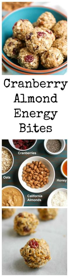 Cranberry Almond Energy Bites are a no-bake energy bite that are easy to make and even easier to throw in your bag for a quick, healthy snack or treat. Oats, chopped almonds, dried cranberries, almond butter, honey, chia seeds and cinnamon are mixed together to create a sweet, delicious bite.  // A Cedar Spoon