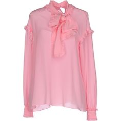 Pinko Blouse (€130) ❤ liked on Polyvore featuring tops, blouses, pink, long sleeve blouse, pinko blouse, pink pussy bow blouse, pinko top and pink blouse