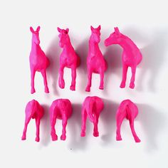 Pink Horse magnets for teen girls or Pink Wedding favor - pink escort cards - pink placecards. $21.50, via Etsy.