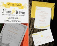 Yellow and grey wedding invite inspiration from PostScript Brooklyn