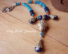 Népal Focal Lapis Cornaline Collier Turquoise en par hogwildjewelry
