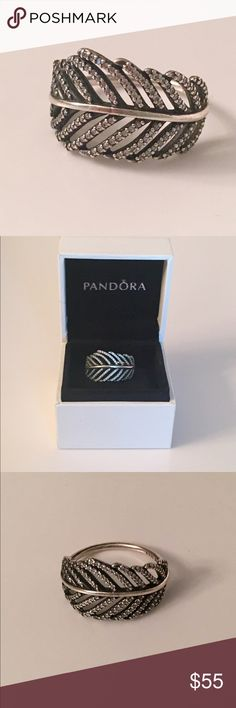 Pandora 'Light as a Feather' Ring Beautiful 'Light as a Feather' sterling silver ring with CZ stones by Pandora. Size 8.5. Originally paid $80. Only worn a few times and in perfection condition. Will consider reasonable offers. Please no low ball offers.  Thanks!!! Pandora Jewelry Rings