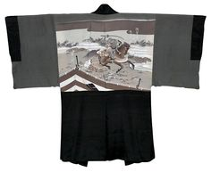 back of japanese antique silk man's kimono jacket haori
